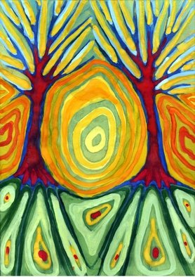 Wojtek Kowalski; Labyrynth, 2004, Original Watercolor, 21 x 30 cm. Artwork description: 241 colour, energy, joy, naive, nature, primitive, psychedelic, surrealism, symbolism, tree, earth, abstract, magical, sun, sunlight, light, colorful, vibrance, vibrant, warm, different, unusual, creativity, another, lucid, animated, other, very, fantastical, spirited, avesome, intense, vivid, emotion, light...