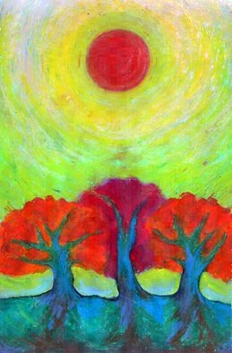 Wojtek Kowalski; Three Suns, 2002, Original Pastel, 21 x 30 cm. Artwork description: 241 colour, energy, joy, naive, nature, primitive, psychedelic, surrealism, symbolism, tree, earth, abstract, magical, sun, sunlight, light, colorful, vibrance, vibrant, warm, different, unusual, creativity, another, lucid, animated, other, very, fantastical, spirited, avesome, intense, vivid, emotion, light...