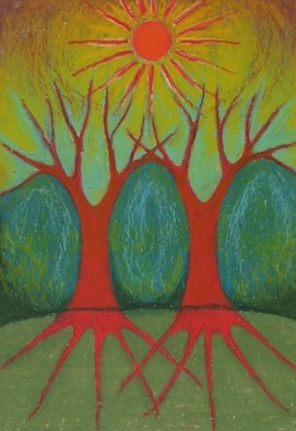 Wojtek Kowalski; Two Worlds, 2003, Original Pastel, 21 x 30 cm. Artwork description: 241 colour, energy, joy, naive, nature, primitive, psychedelic, surrealism, symbolism, tree, earth, abstract, magical, sun, sunlight, light, colorful, vibrance, vibrant, warm, different, unusual, creativity, another, lucid, animated, other, very, fantastical, spirited, avesome, intense, vivid, emotion, light...