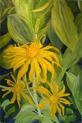 Henry Woody Lindenmeyr; Wild Sunflowers And Skunk..., 2005, Original Painting Oil, 24 x 36 inches.