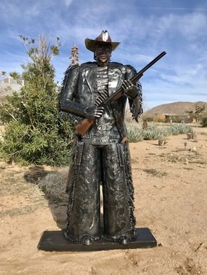 Wendy Rahier; Frisco The Cowboys Cowboy, 2019, Original Sculpture Steel, 48 x 84 inches. Artwork description: 241 This beyond life sized Grand metal Sculpture Frisco is a one of a kind cowboy created by Artist Jim Rahier. This is  2 of his 12 series cowboys and will increase in value with each new cowboy sculpted. As he totes his double barrel shot gun and ...