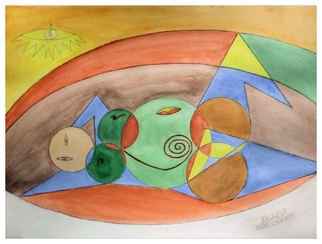 Xesko - Francisco Santos, Pregnant Woman Lying Down, 2008, Original Painting Acrylic, size_width{Pregnant_Woman_Lying_Down-1234585168.jpg} X 30 cm