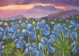 Yana Syskova; Blue Poppy At Sunset, 2020, Original Painting Other, 42 x 29.7 cm. Artwork description: 241 Gouache on paper. SOLD. ...