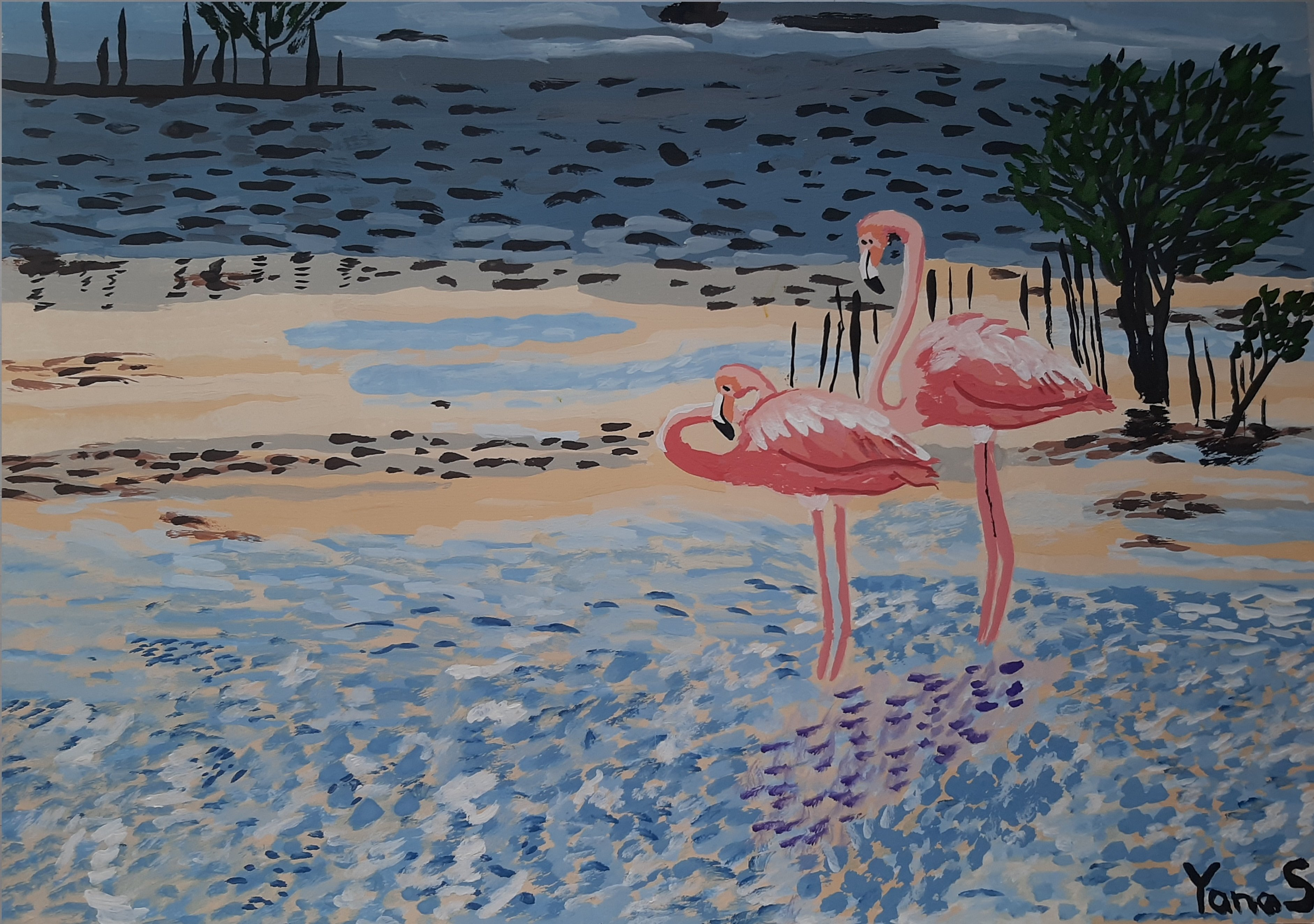 Yana Syskova; Flamingo Couple, 2020, Original Painting Other, 42 x 29.7 cm. Artwork description: 241 Gouache on paper...
