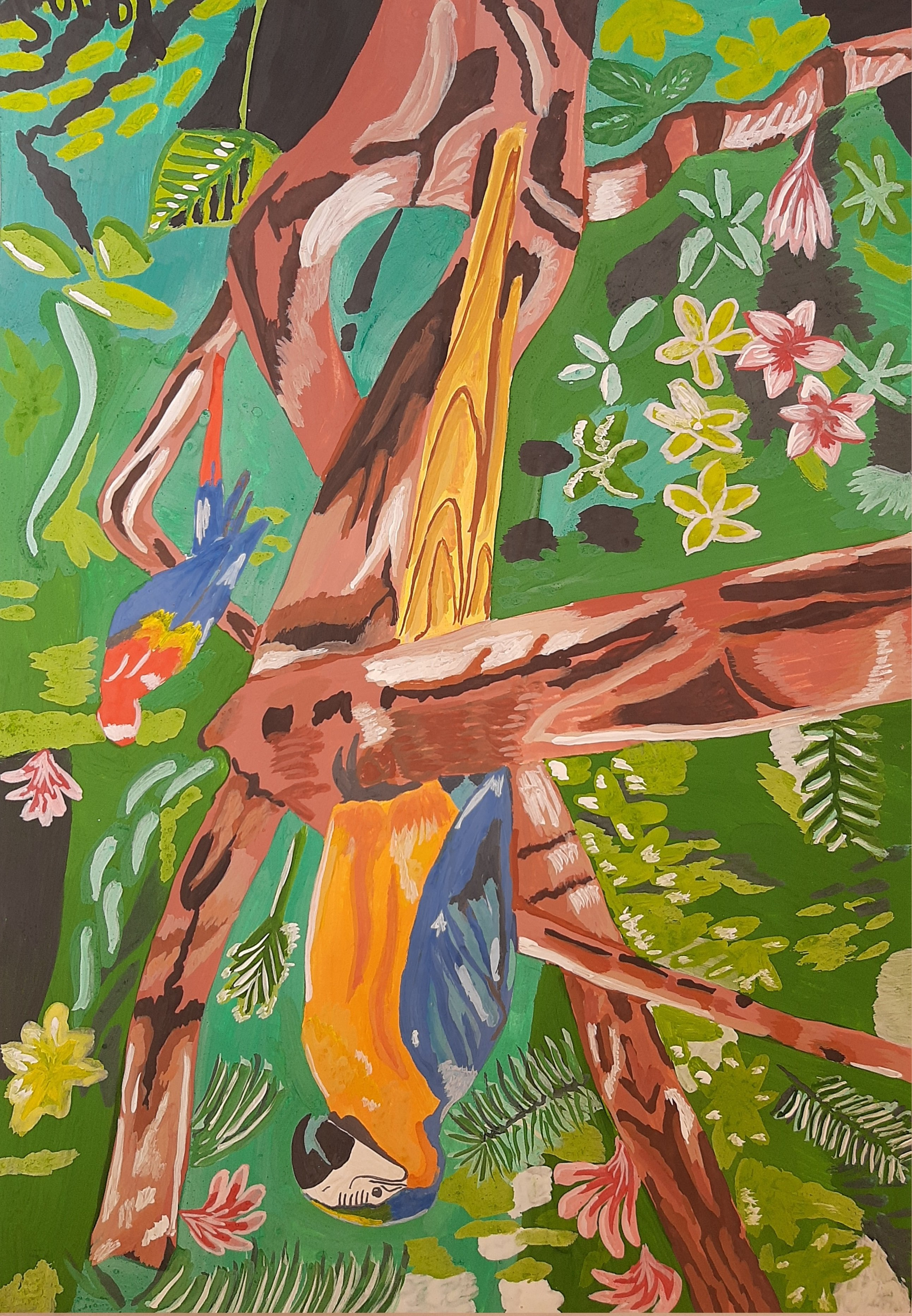 Yana Syskova; Parrots In Rainforest, 2020, Original Painting Other, 42 x 29.7 cm. Artwork description: 241 Gouache on paper. ...