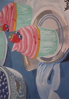Yana Syskova; Strawberry Cupcake, 2020, Original Painting Other, 42 x 29.7 cm. Artwork description: 241 Gouache in paper...