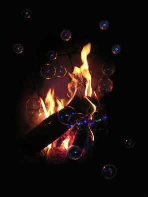Yury Yanin; flame and bubbles, 2012, Original Computer Art, 5 x 7 inches. Artwork description: 241 Flame and bubbles are so different, they can never unite   flame, bubbles, non compearable, strange...