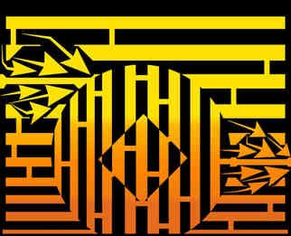 Yanito Freminoshi; Diamond In The Sunrise Maze, 2013, Original Digital Drawing,   inches. Artwork description: 241  Maze op art by the honourable Yanito Freminoshi of a diamond in the Sunrise Maze. The maze was created after Yanito was able to enjoy a sunset on the beach alongside a troupe of Tai Chi