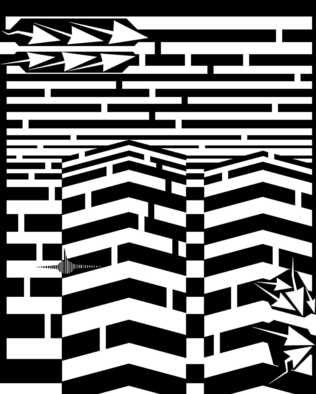 Yanito Freminoshi; September 11th Maze, 2013, Original Digital Drawing,   inches. Artwork description: 241  Psychedelic abstract artwork based on the events of September 11th, specifically the attacks on the world trade center. The maze solution can be found here...