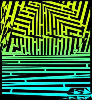 Yanito Freminoshi; Sunset Sailing Maze, 2013, Original Digital Drawing,   inches. Artwork description: 241  Trippy op art maze by Yantio Freminoshi of a sailboat across the horizon at sunset. This artwork was commissioned by a client for use in various online campaigns, although their is a good chance ...