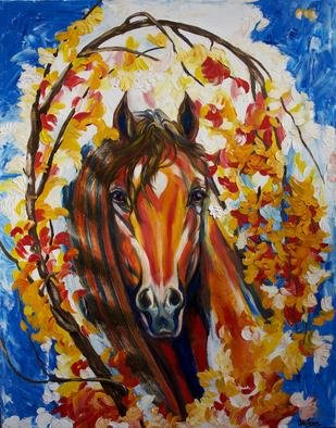 Yelena Rubin; Firefall Horse, 2011, Original Painting Oil, 22 x 28 inches. Artwork description: 241  This painting will brighten your home or art collection and induce inspiration, relaxation and joy, providing a cozy atmosphere for many years to come.Extra thick impasto layers of oil paint in shades of vibrant red, yellow, green, and blue.Every artwork is done using the best ...