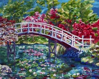 Yelena Rubin; Spring Tranquility, 2012, Original Painting Oil, 30 x 24 inches. Artwork description: 241  There is nothing more tranquil than a nature scene with a wood bridge crossing a pond and the lilies are kissed by the breeze.Extra thick impasto layers of oil paint in shades of vibrant pink, green, and blue against white and rose impressionistic landscape. Every artwork ...