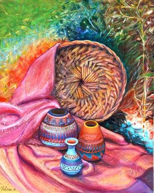 Yelena Rubin; Still Life With Indian Pottery, 2011, Original Painting Acrylic, 24 x 30 inches. Artwork description: 241  This painting done in acrylic on canvas, bright in colors with great details and textures. Every artwork is done using the best grade paints and materials giving you beautiful paintings with textured, vibrant and rich colors. It is an authentic work of art, for beginning art collectors ...