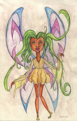 Yeseenia Argiros; Fey1, 2001, Original Watercolor, 8 x 10 inches. Artwork description: 241 She is one of the royal attendants to the fey kingdom...