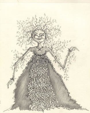 Yeseenia Argiros; Tree Maiden, 2000, Original Drawing Pencil, 9 x 12 inches. Artwork description: 241 She opens the door to all the worlds unknown...