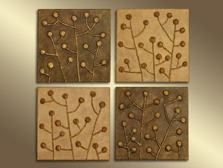 Yoshika Murakami, , , Original Mixed Media, size_width{Golden_Berries_Square_3D_Relief_Wall_Art-1240472292.jpg} X