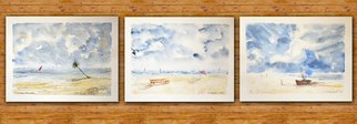 Yulia Schuster; Sea Stories, 2016, Original Watercolor, 26 x 20 cm. Artwork description: 241 Set of 3 seascape watercolour paintings. Size of every painting is 26 20 cmUsing artistsquality paints and paper. It is signed and dated on the frontbeach scene landscape painting palm trees season painting watercolor landscape painting watercolor landscape watercolor on paperblueboatchildchildhoodchildrenlandscape...