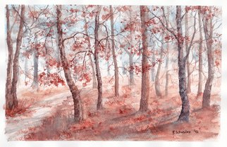 Yulia Schuster; Autumn Forest, 2016, Original Watercolor, 36 x 24 cm. Artwork description: 241 This is one of my original fine art landscape watercolour paintings. Using artists  quality paints and paper. It is signed and dated on the front autumn colours  landscape painting  season painting  watercolor landscape painting  watercolor landscape  watercolor on paper autumnautumnalforestlandscapeparkreflectionroadseasonal...