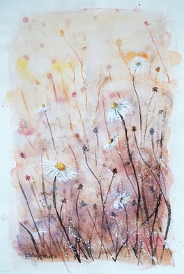 Yulia Schuster; daisies, 2016, Original Watercolor, 24 x 36 cm. Artwork description: 241 This is one of my watercolour paintings. Using artists  quality paints and paper. It is signed and dated on the front abstract flowers  daisies wilsflowers  field flowers  original watercolor  rural landscape  watercolor flowers bluedaisiesdandelionsfieldsflowerswatercolor...