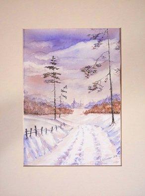 Yulia Schuster; First Snow, 2016, Original Watercolor, 20 x 28 cm. Artwork description: 241 This is one of my watercolour landscape paintings. Painting size 20 x 28cm set in 30 x 40 cm acid free cream white mount and ready to place in standard 30 x 40 cm frame .COMES UNFRAMEDUsing artists  quality paints and paper. It is signed and ...