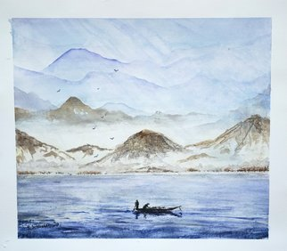 Yulia Schuster; Fishing, 2016, Original Watercolor, 33 x 29 cm. Artwork description: 241 This is one of my original fine art landscape watercolour paintings. Using artists  quality paints and paper. It is signed and dated on the front  beach scene  landscape painting  season painting  watercolor landscape painting  watercolor landscape  watercolor on paper blueboatchildchildhoodchildrenlandscapeoceanreflection...