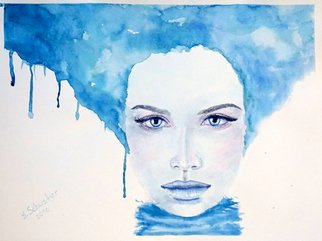 Yulia Schuster; Lady Winter, 2016, Original Watercolor, 40 x 30 cm. Artwork description: 241 This is one of my original fine art watercolour paintings. Portrait of Young Lady in blue Colors.Using artists  quality paints and paper. It is signed and dated on the front  beautiful woman  original watercolor  portrait painting  watercolor painting  watercolor portrait  young girl  young woman beautifulbeauty...