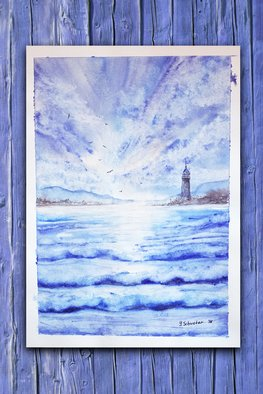 Yulia Schuster; Lighthouse, 2017, Original Watercolor, 25 x 35 cm. Artwork description: 241 This is one of my original fine art landscape watercolour paintings. Using artists  quality paints and paper. It is signed and dated on the front beach scene  landscape painting  sea harbor  sea horse  season painting  watercolor landscape painting  watercolor landscape  watercolor on paper bluechildhoodlandscapelighthouse...