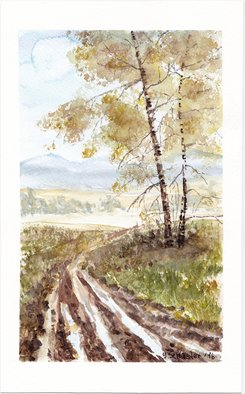 Yulia Schuster; October, 2016, Original Watercolor, 16 x 26 cm. Artwork description: 241 This is one of my watercolour landscape paintings. COMES UNFRAMEDUsing artists  quality paints and paper. It is signed and dated on the front  original watercolor  rural houses  rural landscape  watercolor landscape autumnautumnalbluefieldsharvesthouselandscapemontainsmountainroadruraltreevilagewatercolor...