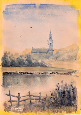 Yulia Schuster; Old Church, 2016, Original Watercolor, 24 x 34 cm. Artwork description: 241 This is one of my watercolour landscape paintings. Made on yellow paper which was primed with a watercolor ground. COMES UNFRAMEDUsing artists  quality paints and paper. It is signed and dated on the front  country landscape  lake district  original watercolor  rural houses  rural landscape  rural scene  ...