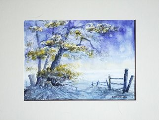 Yulia Schuster; One Summer Night, 2016, Original Watercolor, 28 x 20 cm. Artwork description: 241 This is one of my watercolour landscape paintings. Painting size 28 x 20cm set in 30 x 40 cm acid free cream white mount and ready to place in standard 30 x 40 cm frame .COMES UNFRAMEDUsing artists  quality paints and paper. It is signed and ...