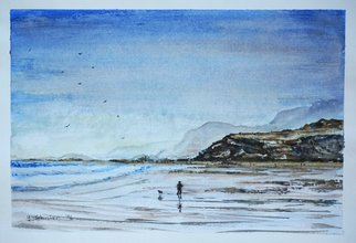 Yulia Schuster; Seashore, 2016, Original Watercolor, 35 x 25 cm. Artwork description: 241 This is one of my original fine art landscape watercolour paintings. Using artists  quality paints and paper. It is signed and dated on the front  beach scene  landscape painting  sailing boat  season painting  watercolor landscape painting  watercolor landscape  watercolor on paper blueboatchildchildhoodchildrenlandscape...