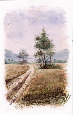 Yulia Schuster; Solitude, 2016, Original Watercolor, 18 x 28 cm. Artwork description: 241 This is one of my watercolour landscape paintings. COMES UNFRAMEDUsing artists  quality paints and paper. It is signed and dated on the front  original watercolor  rural houses  rural landscape  watercolor landscape autumnautumnalbluefieldsharvesthouselandscapemontainsmountainroadruraltreevilagewatercolor...