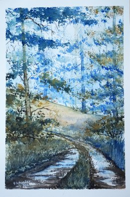 Yulia Schuster; trail, 2016, Original Watercolor, 24 x 36 cm. Artwork description: 241 This is one of my  watercolour landscape paintings. COMES UNFRAMEDUsing artists  quality paints and paper. It is signed and dated on the frontoriginal watercolor  rural houses  rural landscape  watercolor landscape autumnautumnalbluefieldsharvesthouselandscapemontainsmountainroadruraltreevilagewatercolor...