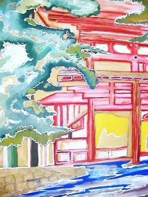 Yuri Miku; Japanese Sumai, 2008, Original Mixed Media, 24 x 36 inches. Artwork description: 241  Japanese Sumai means Japanese House. It's the Archetypal of Japanese Homes. ...