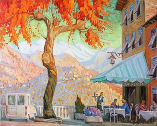 Yuri Vasiliev; СAfe In Berre Les Alpes, 2009, Original Painting Oil, 100 x 90 cm. Artwork description: 241 landscape, cafe, Berre les Alpes, Provence, autumn,  sunlight...