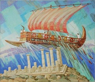 Yuri Vasiliev; Argonauts, 2012, Original Painting Oil, 120 x 100 cm. Artwork description: 241 Argonauts, history, Greece, Troy, the sea, exploits of Hercules, Asos, sunlight, fantasy...