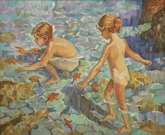 Yuri Vasiliev; Goldfishes, 2016, Original Painting Oil, 94 x 76 cm. Artwork description: 241 Goldfish, girls, the sea, the sun, stones, water, good mood...
