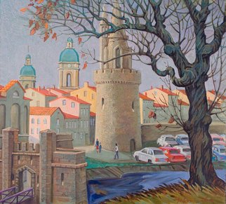 Yuri Vasiliev; La Rochelle, 2010, Original Painting Oil, 100 x 80 cm. Artwork description: 241 Landscape, La Rochelle, sea, France, trees, castle, toun...