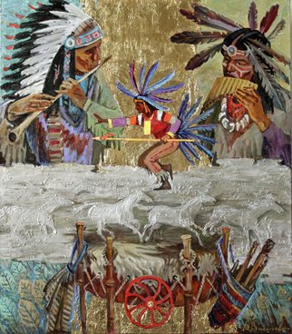 Yuri Vasiliev; Native American Rhythms, 2012, Original Painting Oil, 100 x 90 cm. Artwork description: 241 ethnic, american, dance, gold, horses, fluete...