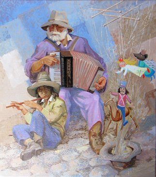 Yuri Vasiliev; Old And Young, 2011, Original Painting Oil, 90 x 100 cm. Artwork description: 241 music, kids, ethnic, blue, Flute, accordion, puppet theater, street musicians...