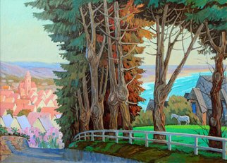 Yuri Vasiliev; Old Pines In Cartare, 2009, Original Painting Oil, 106 x 76 cm. Artwork description: 241 landscape, France, Topcartare, sunlight, horses, sea, ...