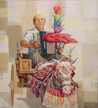 Yuri Vasiliev; Sicilian Song Donkey, 2011, Original Painting Oil, 90 x 100 cm. Artwork description: 241 Sicilian, song, Donkey, ethnic, music, sun light...