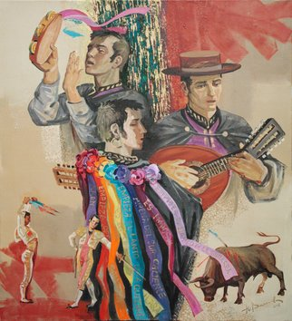Yuri Vasiliev; Spanish Trio, 2011, Original Painting Oil, 90 x 100 cm. Artwork description: 241 ethnic, music, spanish, trio, gay, bullfight, korrida, toreador...