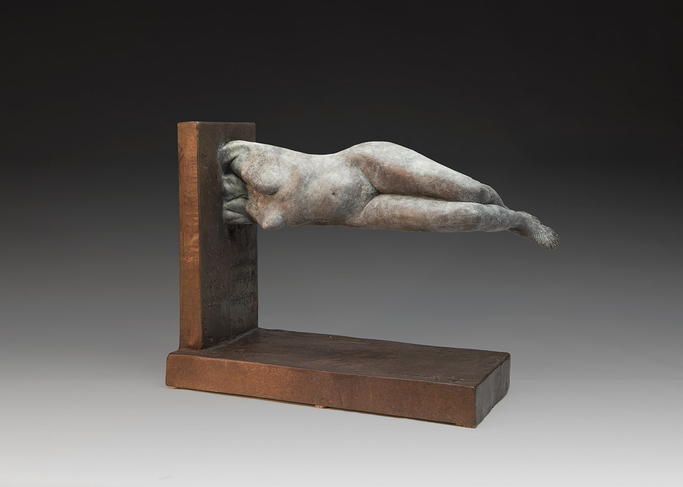 Yves  Goyatton; Weighless, 2016, Original Sculpture Bronze, 7 x 14 inches. Artwork description: 241 Yves Goyatton bronze contemporary sculpture was created in 2016 Weightless is a tribute to life. This body is floating but remains strong defying gravitational pull. Like an imaginary line who can represent the good bad of human spirit. ...