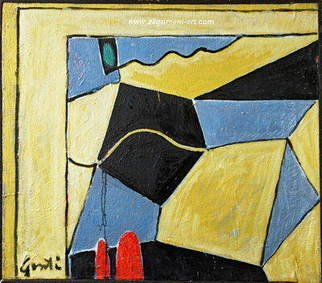 Gentian Zagorcani;  Composition, 1995, Original Painting Oil, 70 x 65 cm.
