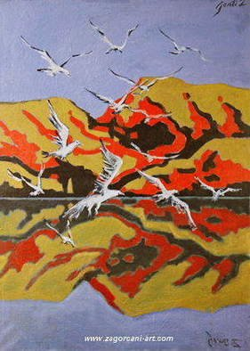 Gentian Zagorcani; Reflection Of The Mountain, 1995, Original Painting Oil, 60 x 84 inches.