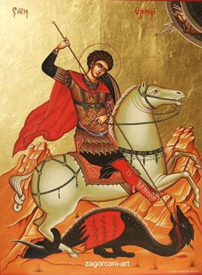 Gentian Zagorcani; Saint George, 2003, Original Mixed Media, 30 x 40 cm. Artwork description: 241  This is an icon painted with ancient technique egg- tempera on wood. On it is applied real 24 Kgold foil....