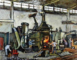 Gentian Zagorcani; The Factory, 1987, Original Painting Oil, 60 x 45 inches. Artwork description: 241 Laborers working at an iron factory, 1987 in socialist countries, during the communist regime. ...