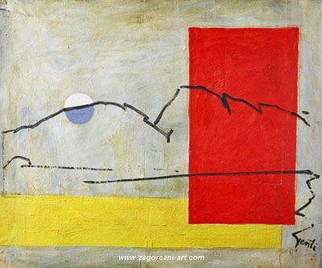 Gentian Zagorcani; The Mountain, 1995, Original Painting Oil, 90 x 70 cm.