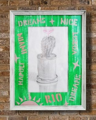 Zaure Kadyke; Dream Of Warmth, 2018, Original Drawing Pencil, 13 x 16.9 inches. Artwork description: 241 pencil, pink, sun, tin, warm, resorts, cactus, can, classical, dream, gray, green...